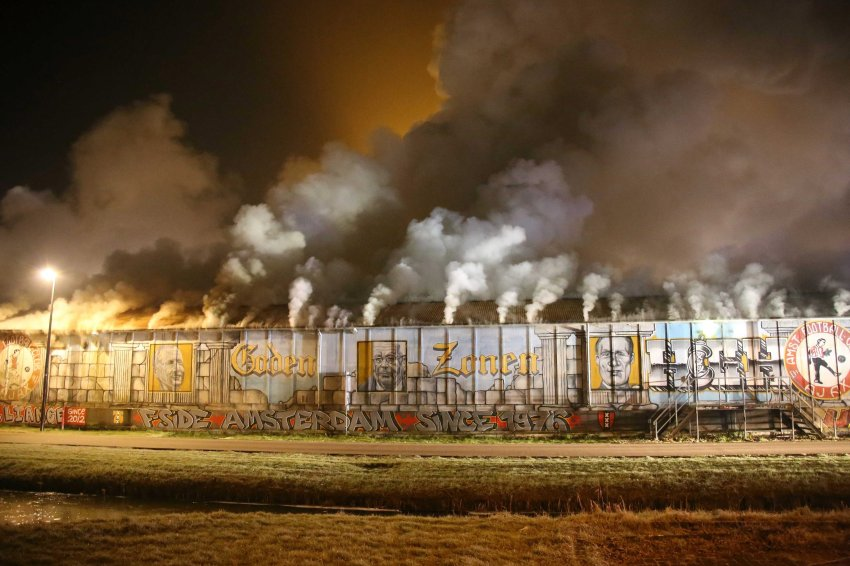 Fire in Ajax Amsterdam fan clubhouse