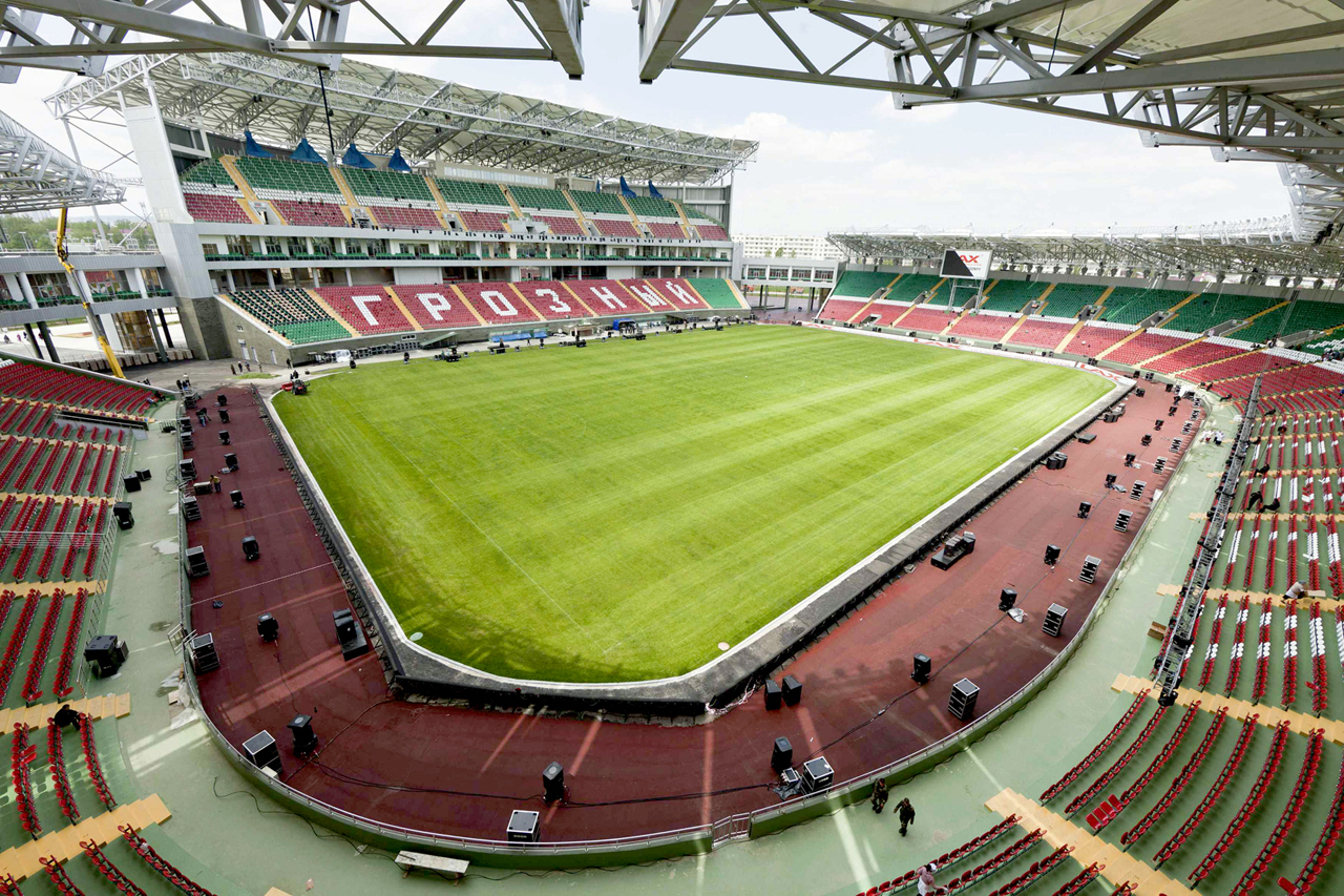 A general view of the new Akhmad-Hajji Kadyrov stadium in the Chechen capital Grozny